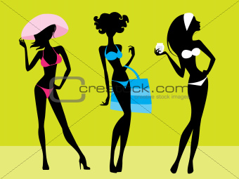 Three girls silhouettes