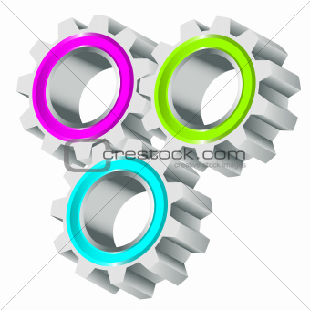 Vector illustration of cog wheels