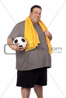 Fat man with a soccer ball
