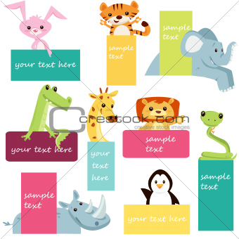 Set of animal labels