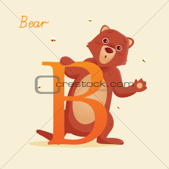 Animal alphabet with bear