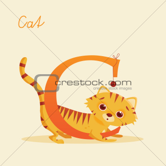 Animal alphabet with cat