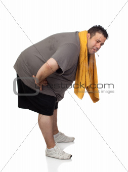 Fat man playing sport and smoking