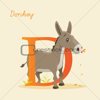 Animal alphabet with donkey