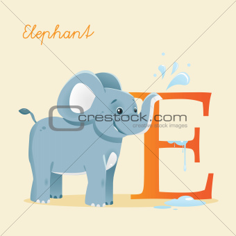Animal alphabet with elephant
