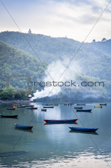 Pleasure boats on Pokhara lake in Nepal