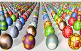 Rows of Easter eggs