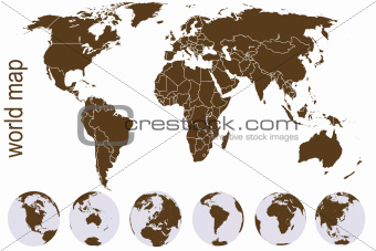 Brown world map with Earth globes
