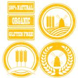 Food orange rubber stamps labels collection for whole grain cere