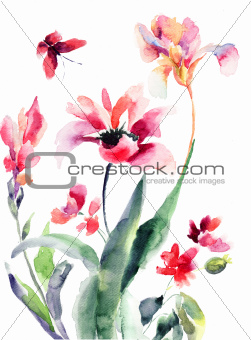 Stylized flowers, watercolor illustration