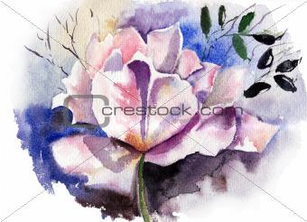 Beautiful flower in watercolor