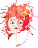 Watercolor illustration of cartoon style girl