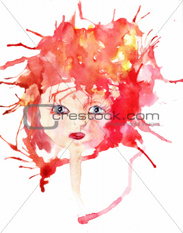 Watercolor illustration of cartoon style girl