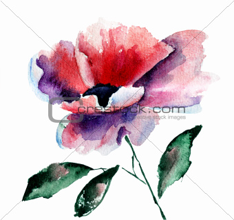Stylized Poppy flower