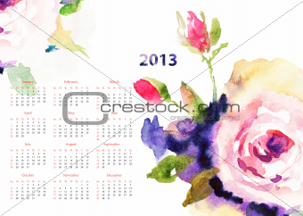 Calendar with Roses flowers