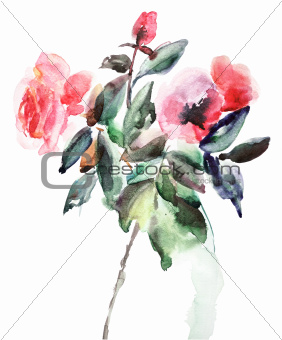 Decorative illustration of Roses flowers