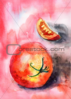 Watercolor illustration of red tomato