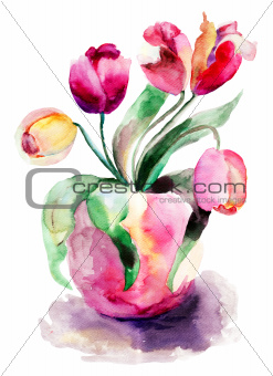 Vase with red Tulips Flowers