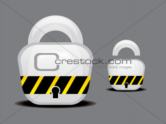 abstract glossy lock button