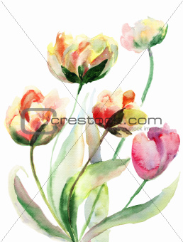Decorative watercolor flowers
