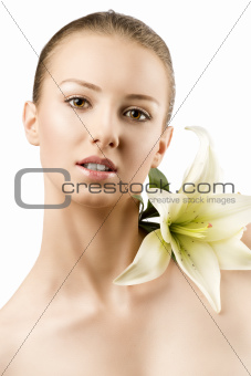 beauty portrait with flowers, she smiles