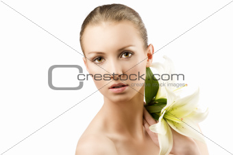beauty portrait with flowers on shloulder