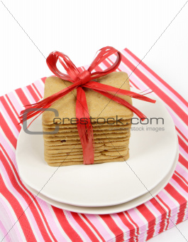 cakes with red ribbon