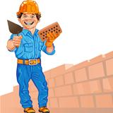 vector cheerful bricklayer builder in the orange helmet with bri
