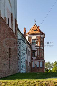 A Tower of Gothic Castle in Mir (Belarus).