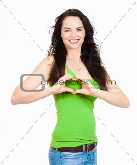 Woman forming love heart  with hands