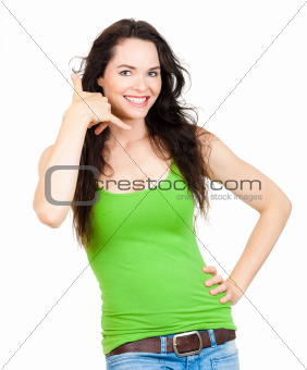 Beautiful woman making call me sign