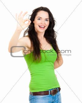 Beautiful hsappy woman symoling ok