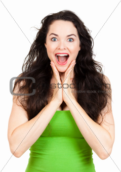 Happy surprised woman