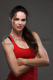 Beautiful woman having rest from exercise