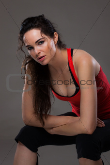 Beautiful sexy woman resting after exercise