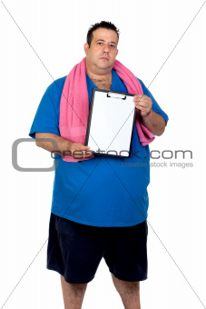 Fat man with a blank paper