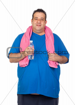Fat man playing sport with a water bottle