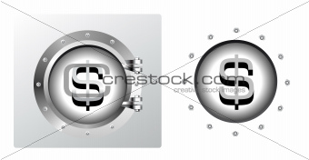 Dollar symbol and banking safe in porthole form