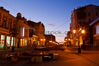 Street in the Center of Samara at Night, Russia