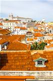 Panorama of old traditional city of Lisbon with red roofs