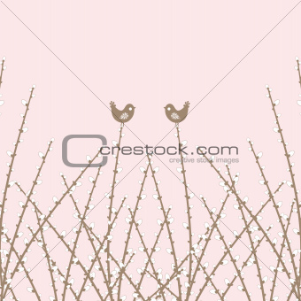 Spring Willow Twig and birds