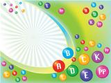 Vector conceptual vivid background from different color vitamin