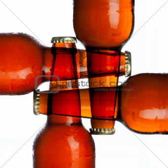 4 bottel beer background close up on white