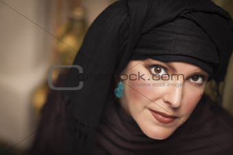 Beautiful Smiling Islamic Woman Wearing Traditional Burqa or Niqab.