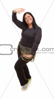 Attractive Hispanic Woman Dancing Zumba on a White Background.