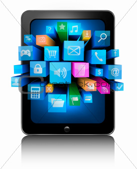 Tablet pc with colorful icons