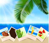 Photos from holidays on a seaside  Summer holidays concept  Vector