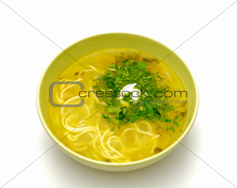Bowl homemade chicken noodle soup