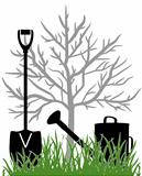 Illustration with the watering can and a shovel in the green grass in the background seedling apple trees.