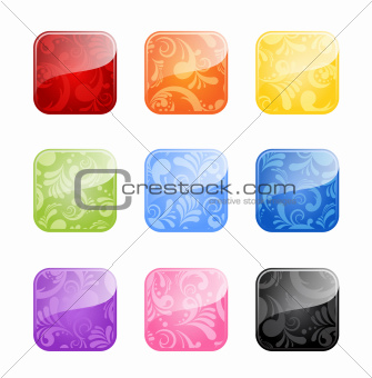 Glossy blank buttons in color variations